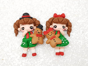 Clay Charm Embellishment - Christmas Girl D - Crafty Mood