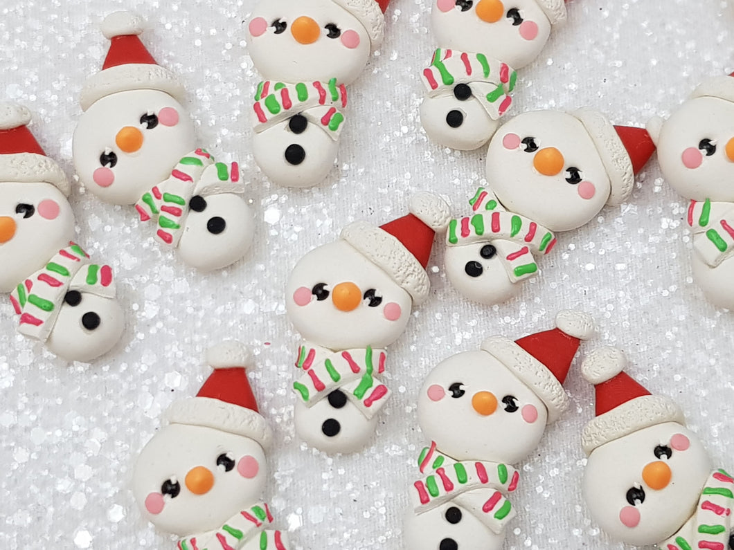 Clay Charm Embellishment Christmas snowman ST - Crafty Mood