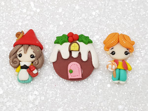 Clay Charm Embellishment - Hansel and Gretel 4 cm set of 3 - Crafty Mood