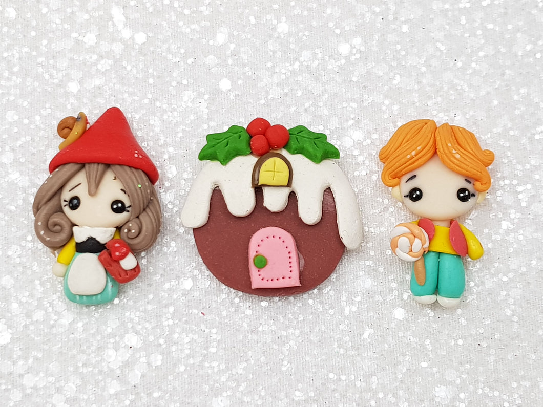 Clay Embellishment Hansel and Gretel 4 cm set of 3 - Crafty Mood