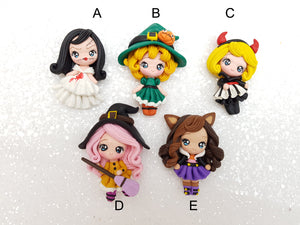 Clay Charm Embellishment New dressing up Halloween girl SR - Crafty Mood