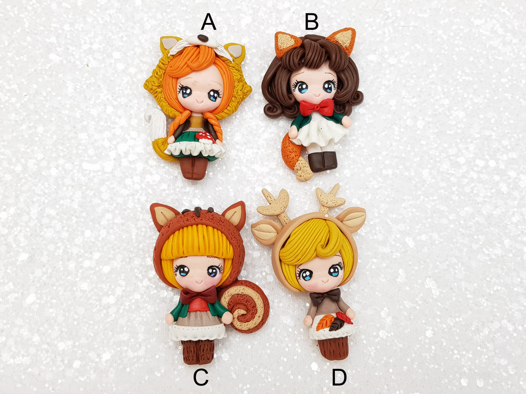 Clay Charm Embellishment New dressing up autumn girl SR - Crafty Mood
