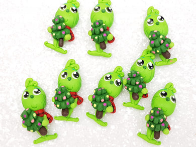 Handmade Flat Back Clay Embellishment new christmas green boy - Crafty Mood