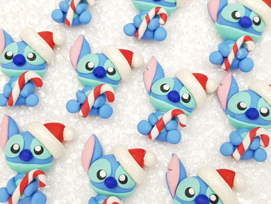 Handmade Flat Back Clay Embellishment new christmas blue monster - Crafty Mood