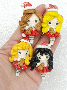 Clay Charm Embellishment Christmas girl  5.5cm SH - Crafty Mood
