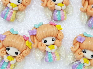Clay Charm Embellishment - New Rainbow Angel A - Crafty Mood