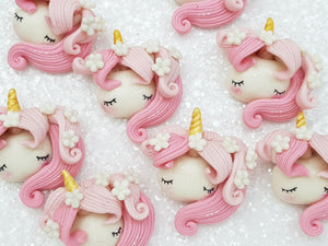 Clay Charm Embellishment new sleepy unicorn head - pink - Crafty Mood