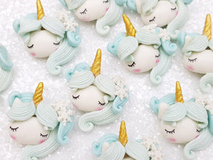 Clay Embellishment new sleepy unicorn head - ice - Crafty Mood