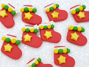 Handmade Flat Back Clay Embellishment NEW christmas sock - Crafty Mood