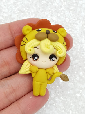 Clay Charm Embellishment new BE dressing up lion girl SF - Crafty Mood