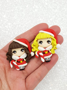 Flat Back Clay Embellishment NEW big eyes santa girl - Crafty Mood