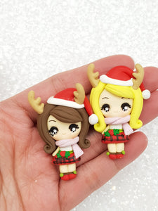 Clay Embellishment NEW big eyes reindeer girl - Crafty Mood