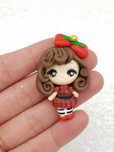 Clay Charm Embellishment big eyes tartan girl - Crafty Mood