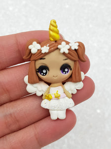 Clay Charm Embellishment NEW big eyes angel SF - Crafty Mood