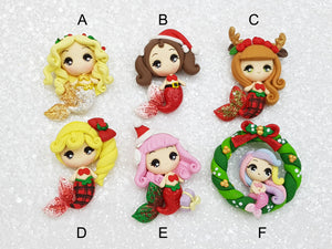 Clay Charm Embellishment - NEW BIG Eyes Mermaid Christmas Girl - Crafty Mood