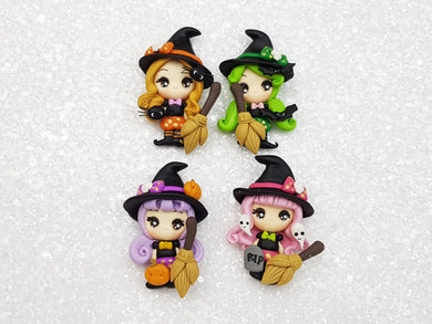 Handmade Flat Back Clay Embellishment new big eyes witch - Crafty Mood
