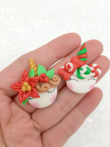 Clay Charm Embellishment NEW christmas sleepy unicorn K - Crafty Mood