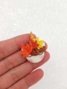 Clay Charm Embellishment NEW autumn sleepy unicorn - Crafty Mood