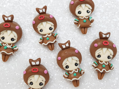 Clay Charm Embellishment NEW ginger bread girl SH - Crafty Mood
