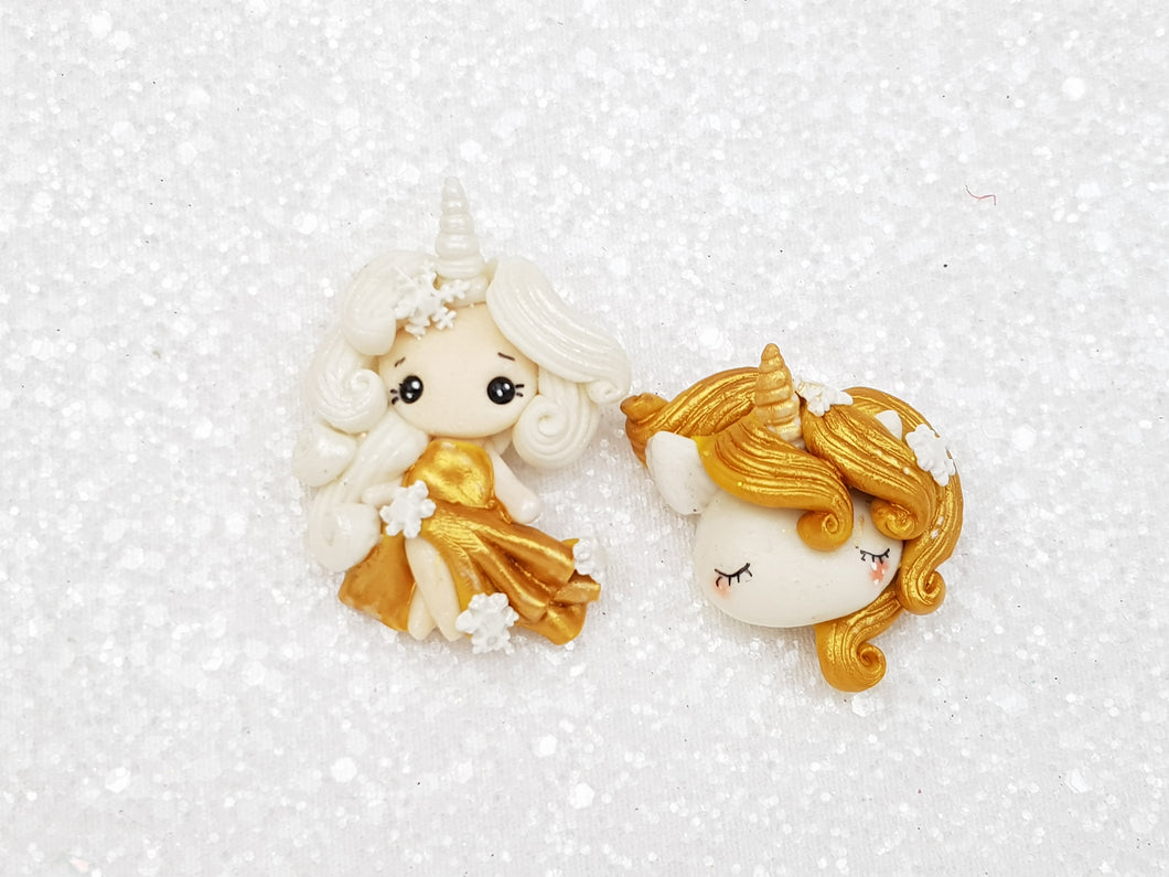 Clay Charm Embellishment NEW F-SHIMMER UNICORN GIRL/HEAD - Crafty Mood