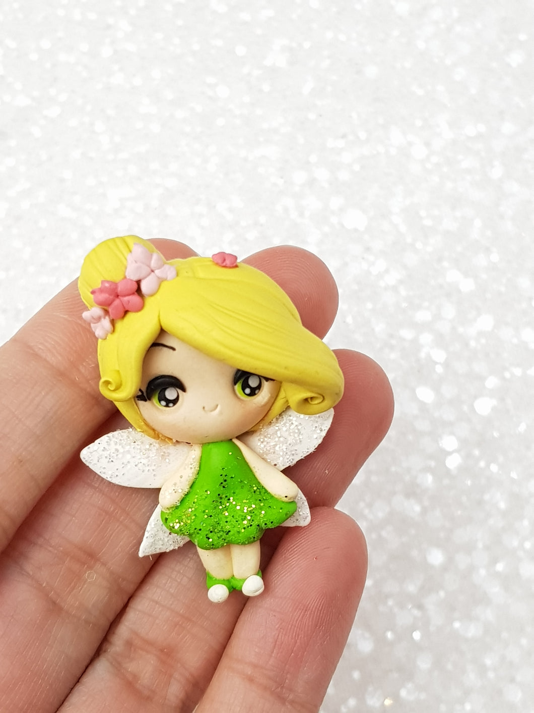 Clay Charm Embellishment - Fairy E Green approx 4cm tall - Crafty Mood