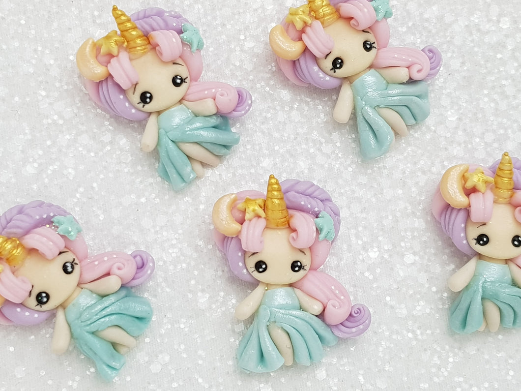 Clay Charm Embellishment - NEW C SHIMMER UNICORN GIRL/HEAD - Crafty Mood