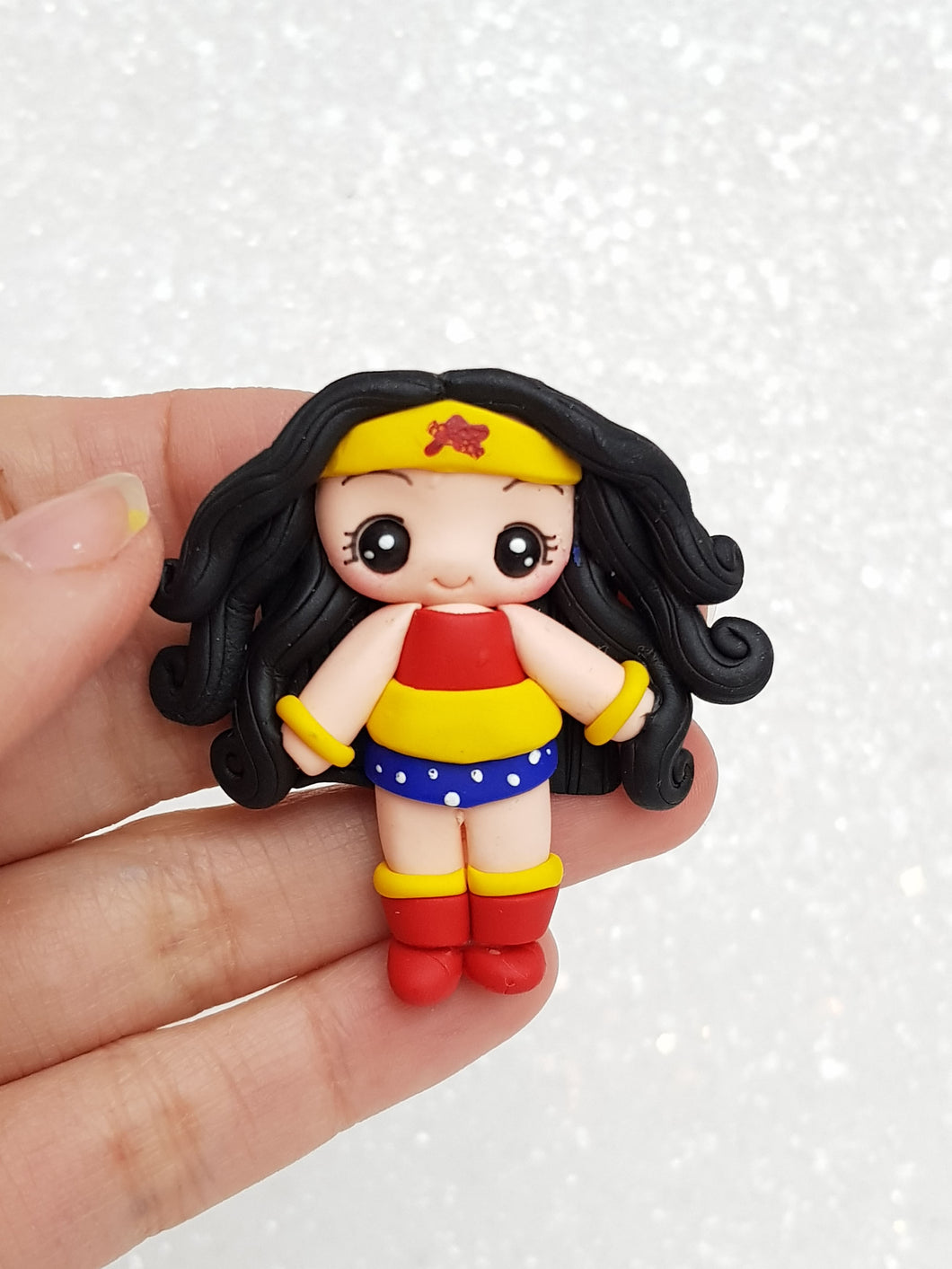 Clay Charm Embellishment SUPERHERO G- approx 4-5 cm