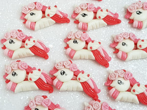 Clay Charm Embellishment - Valentine Unicorn B - Crafty Mood