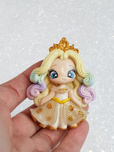 Clay Charm - NEW LUXE PRINCESS IN WHITE Rainbow - Crafty Mood