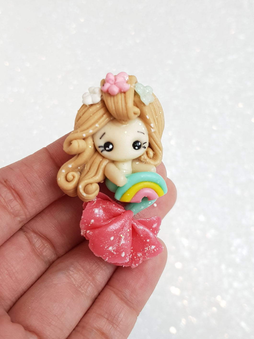 Clay Charm Embellishment - NEW RAINBOW MERMAID - Crafty Mood