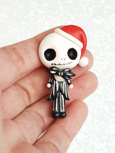 Clay Charm Embellishment - Santa Skeleton Big Eyes - Crafty Mood