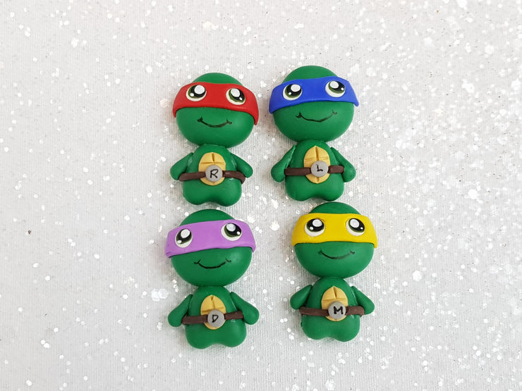 Clay Charm Embellishment - New Turtle set of 4 - Crafty Mood