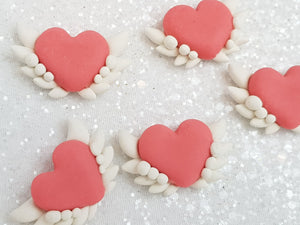 Clay Charm Embellishment heart with wing spt - Crafty Mood