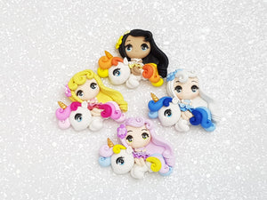Clay Charm Embellishment - NEW GIRL RIDING UNICORN BIG EYES - Crafty Mood