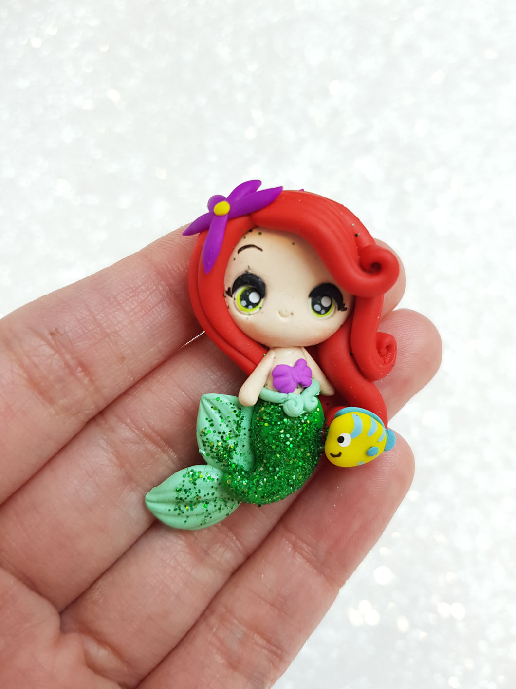 Clay Charm Embellishment - Big Eyes Arl mermaid approx 4cm - Crafty Mood