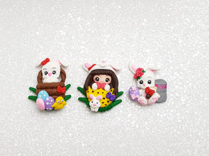 Clay Charm Embellishment - Dressing Up & Bunny - Crafty Mood