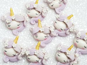 Clay Charm Embellishment - Unicorn Head Lilac - Crafty Mood
