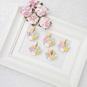 Clay Charm Embellishment - Sleepy Pastel Flower Unicorn Head - Crafty Mood