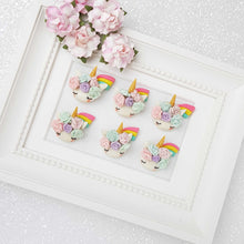 Load image into Gallery viewer, Clay Charm Embellishment - Sleepy Unicorn Head with Rainbow - Crafty Mood