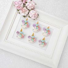 Load image into Gallery viewer, Clay Charm Embellishment - Sleepy Unicorn Head with Pastel Rainbow - Crafty Mood