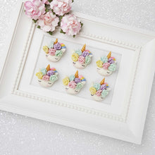 Load image into Gallery viewer, Clay Charm Embellishment - Pastel Flower Sleepy Unicorn Head - Crafty Mood