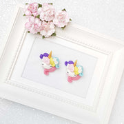 Clay Charm Embellishment - Sleepy Colourful Pony Head - Crafty Mood