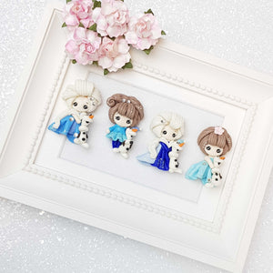 Clay Charm Embellishment - Blue Dress Winter Sister snow - Crafty Mood
