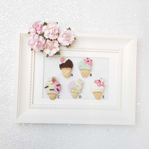 Clay Charm Embellishment - Ice Cream Cone - Crafty Mood