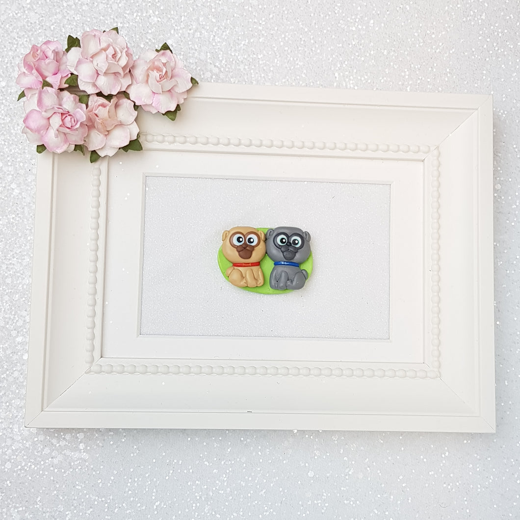 Clay Charm Embellishment - puppy cameo big eyes - Crafty Mood