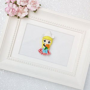 Clay Charm Embellishment - Dutch girl big eyes - Crafty Mood