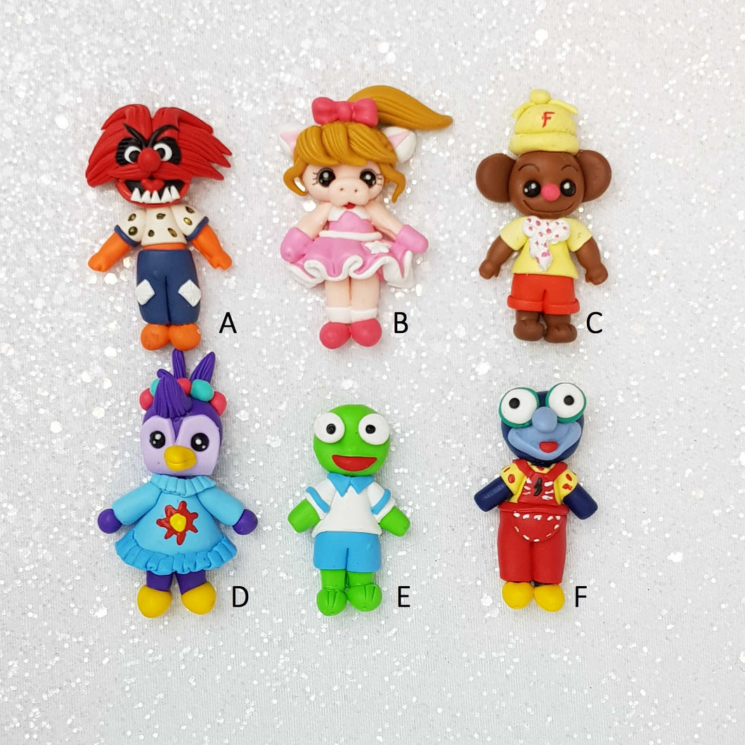 Sale Clay Charm Embellishment - Fancy Puppets - Crafty Mood