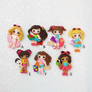 Sale Clay Charm Embellishment - Summer Holiday Girls