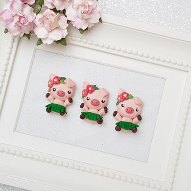 Clay Charm Embellishment - NEW Pig FLOWER