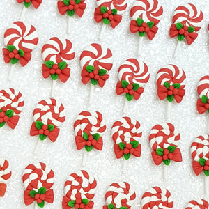 Clay Charm Embellishment - Christmas lollipop - Crafty Mood